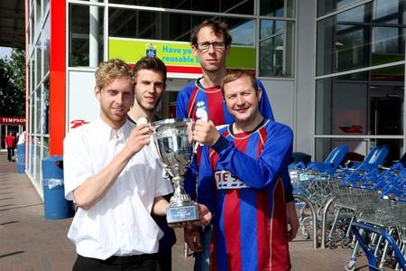 Rival stores prepare for charity football match for St Richard's Hospice