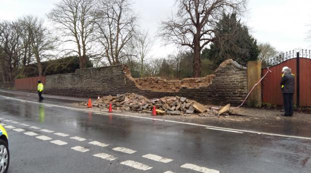 Two children seriously hurt in Bretforton after wall collapses following Storm Imogen